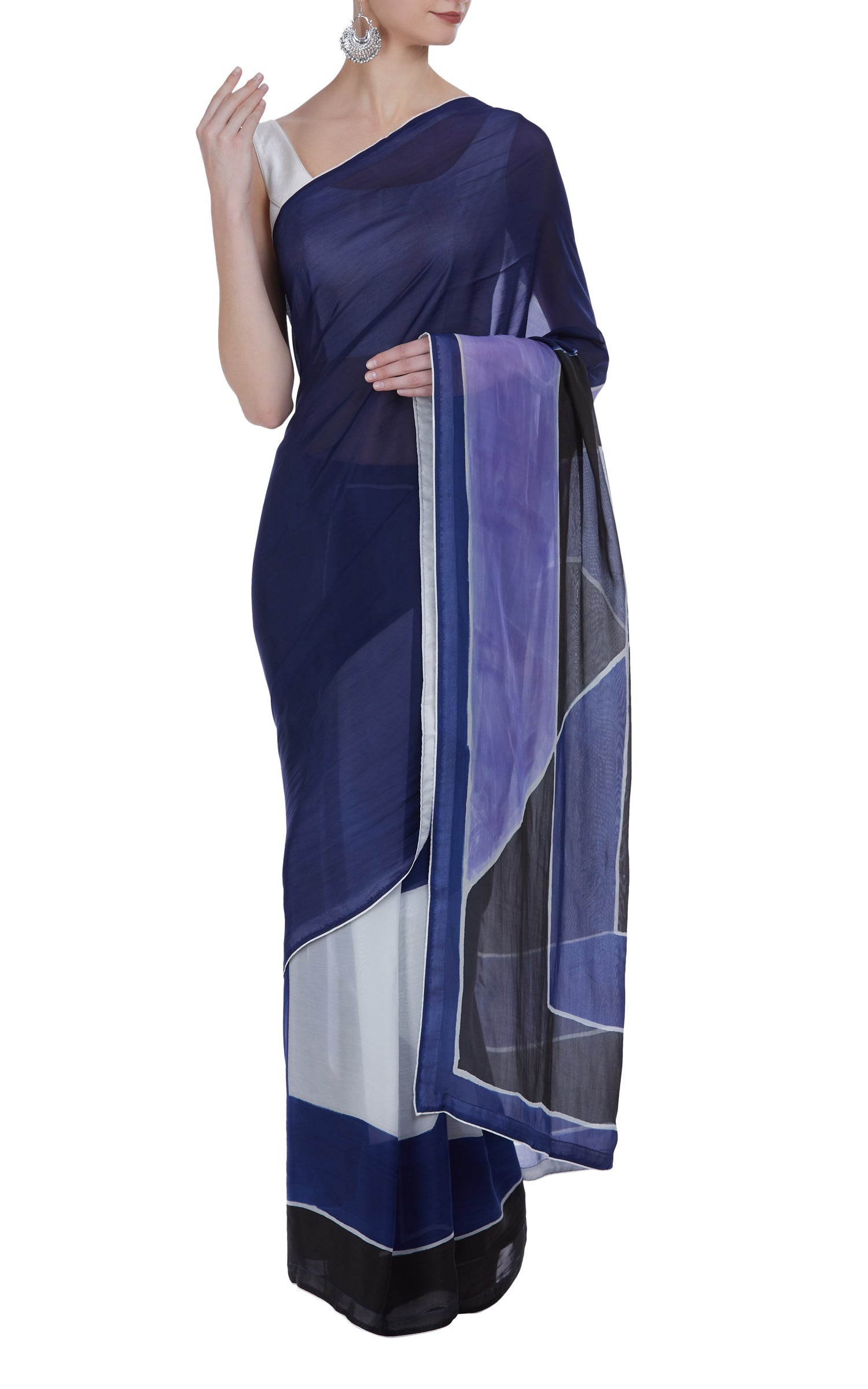 Hand Painted Abstract Saree