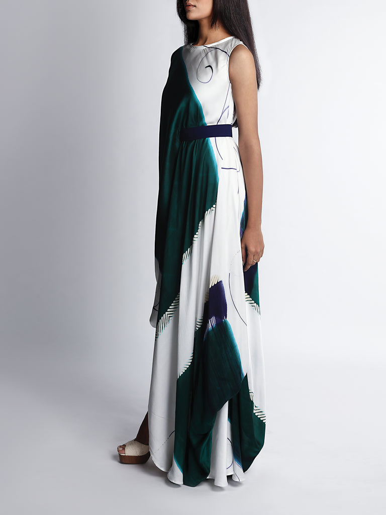 Sleeveless Hand Brush Painted Drape Dress