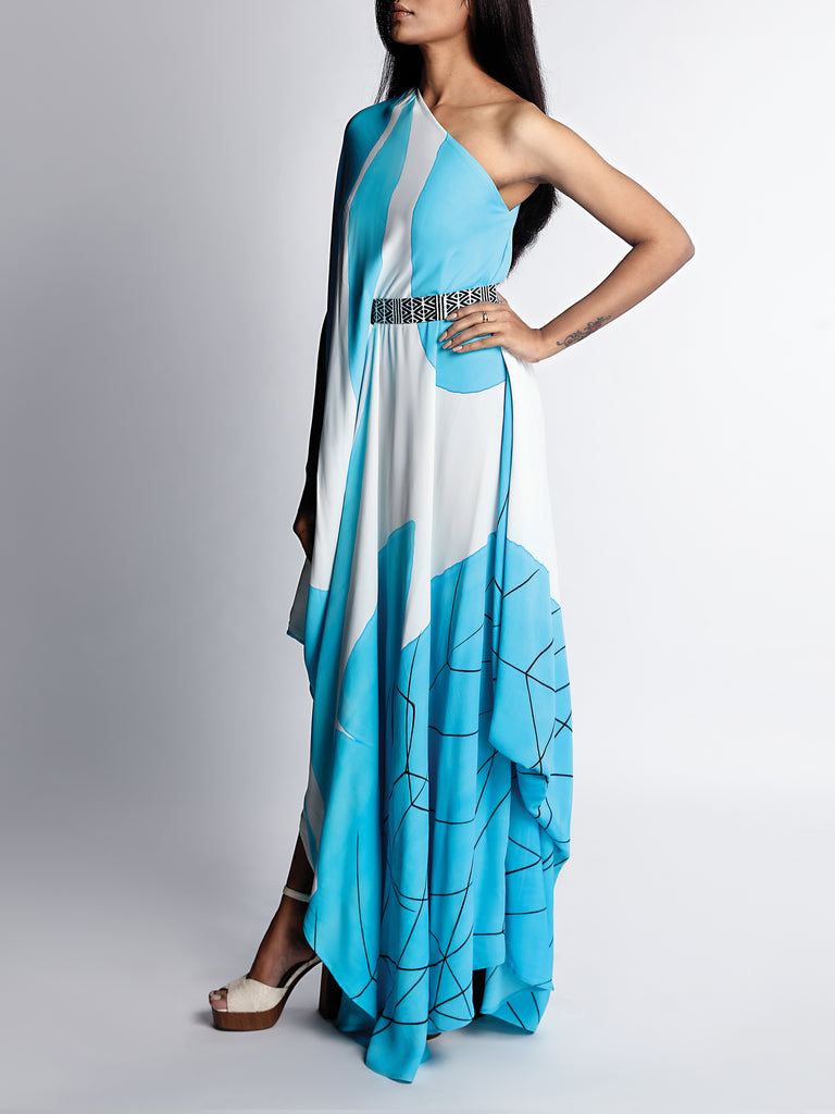 Abstract Hand Painted Draped Dress