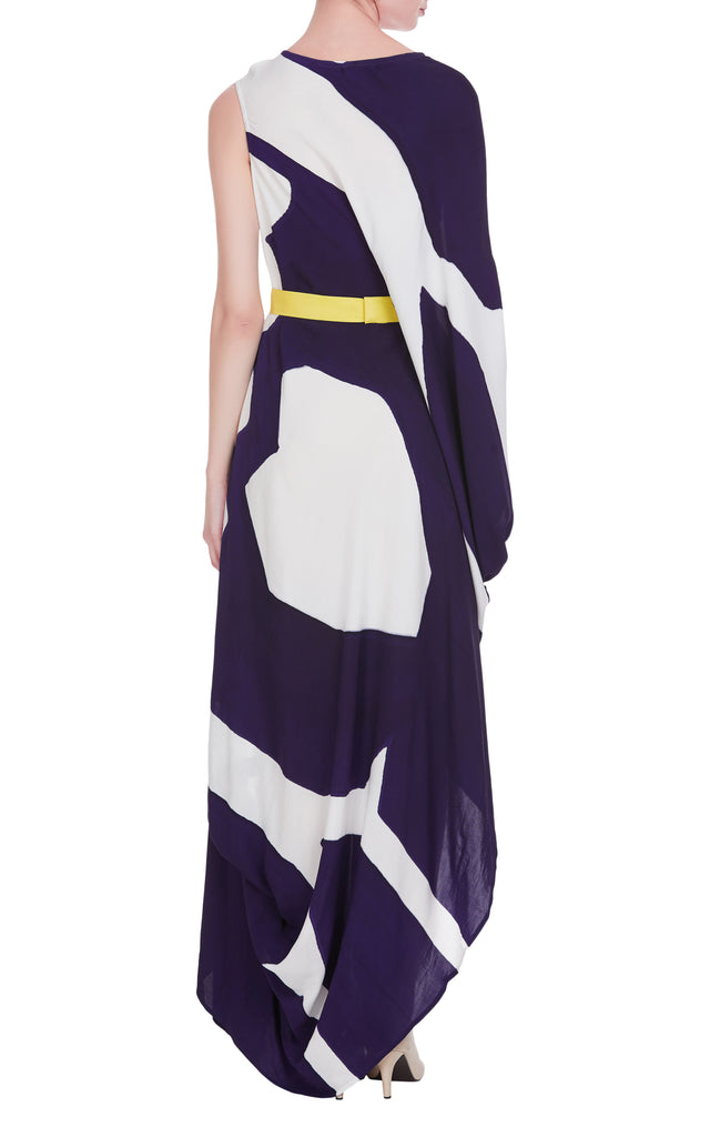 One Shoulder Hand Painted Maxi Dress