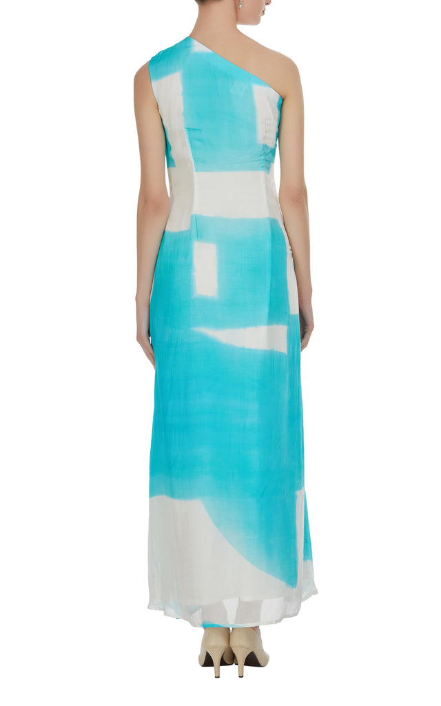 Abstract Hand Painted One Shoulder Dress