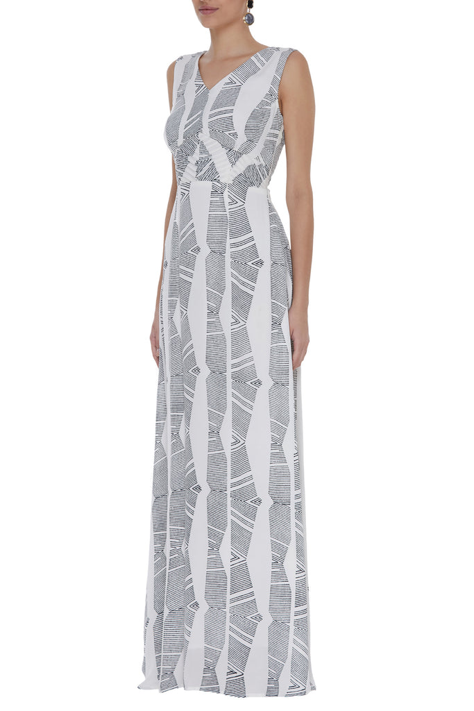Block Printed Dress With Waist-Cut Pleating