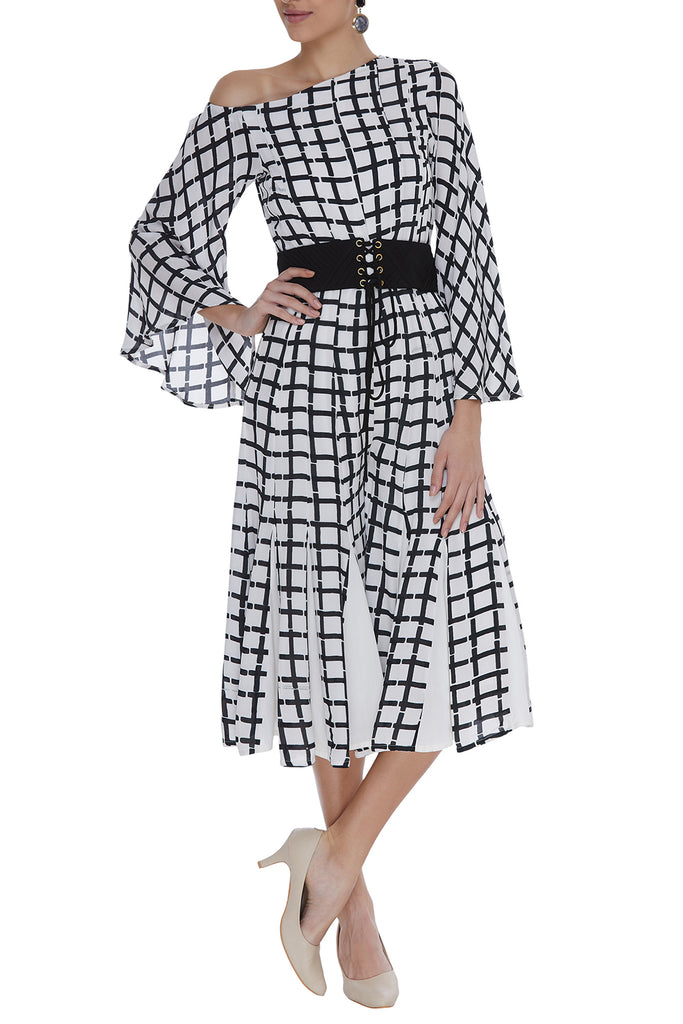 Block Printed Checked Paneled Jumpsuit