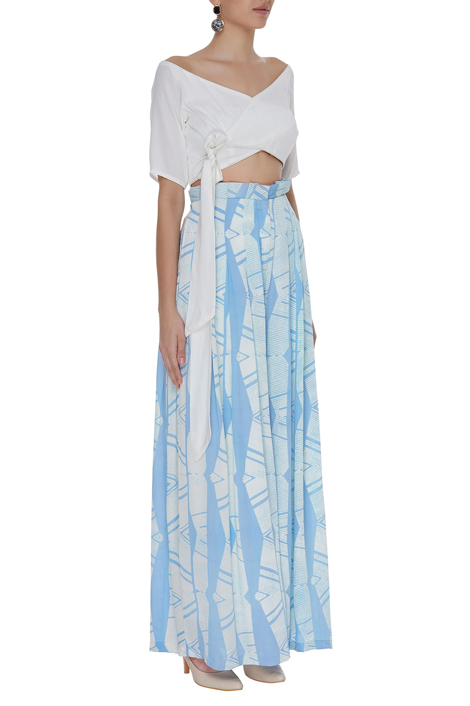 Overlap Tie-Up Top With Block Printed Pleated Pants