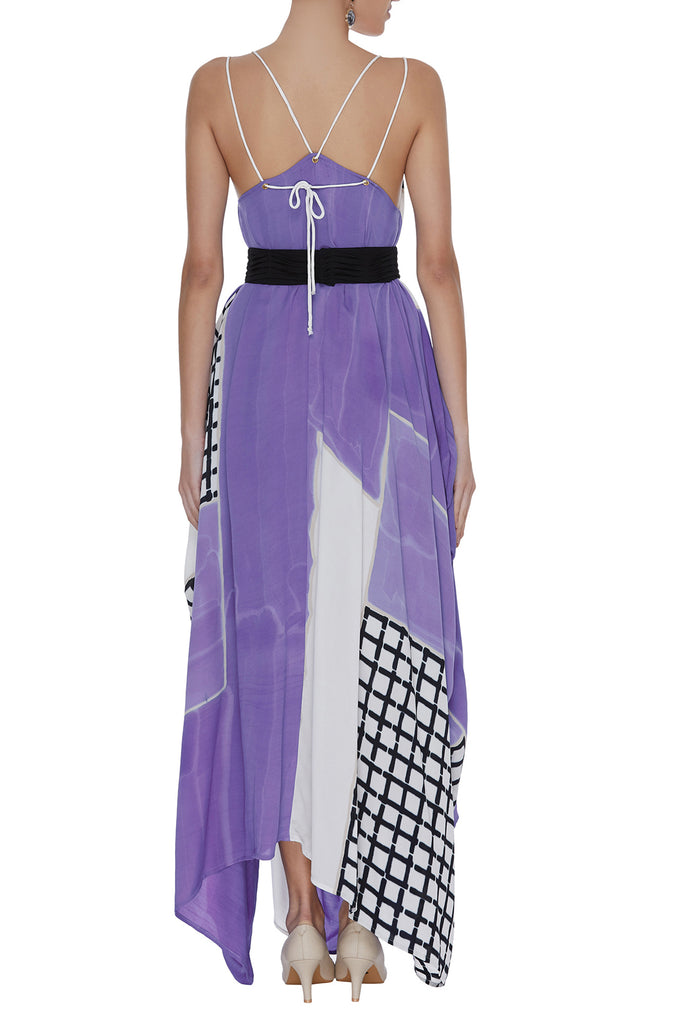Geometric Hand And Block Printed Draped Dress