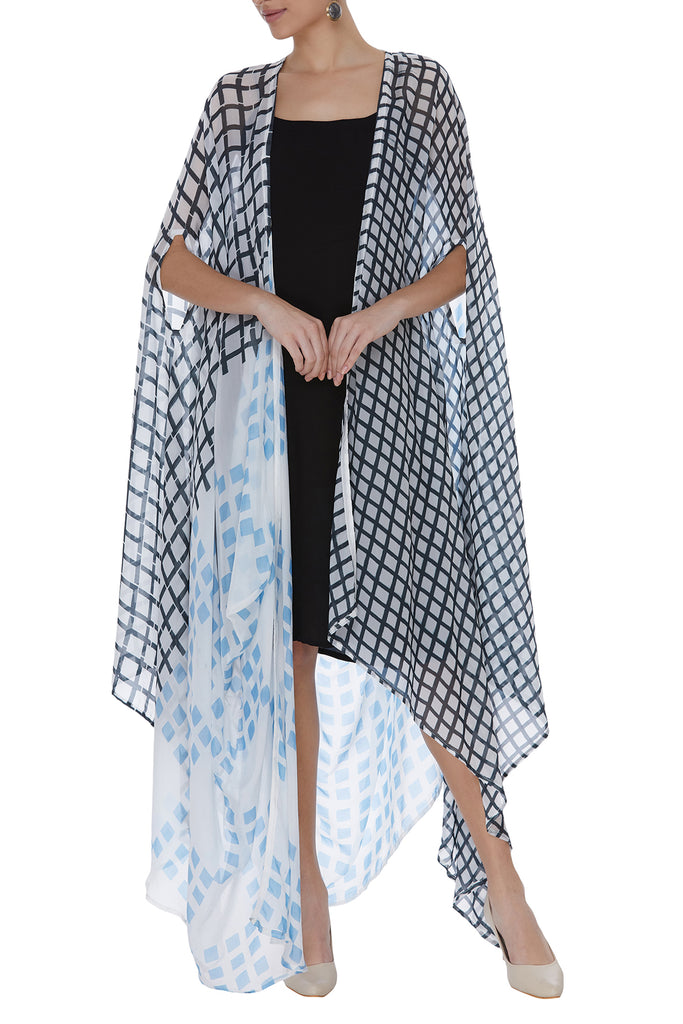 Geometric Block Printed Drape Jacket Set