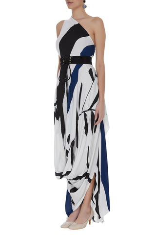 Hand Painted One Shoulder Drape Dress With Pleated Belt