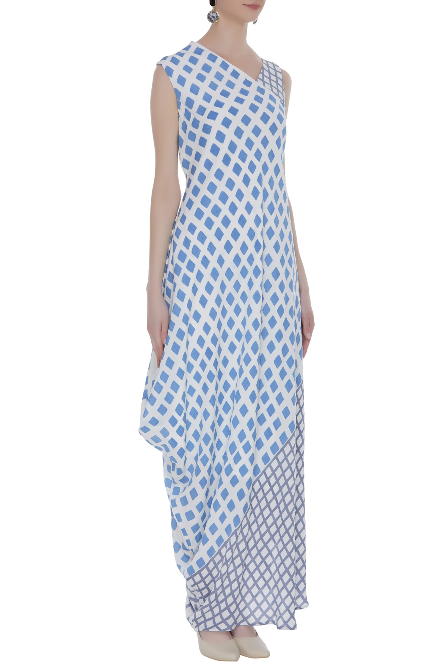 Placement Block Printed Asymetrical Dress
