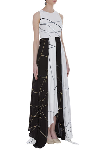 Hand Painted Overlapping Maxi Dress