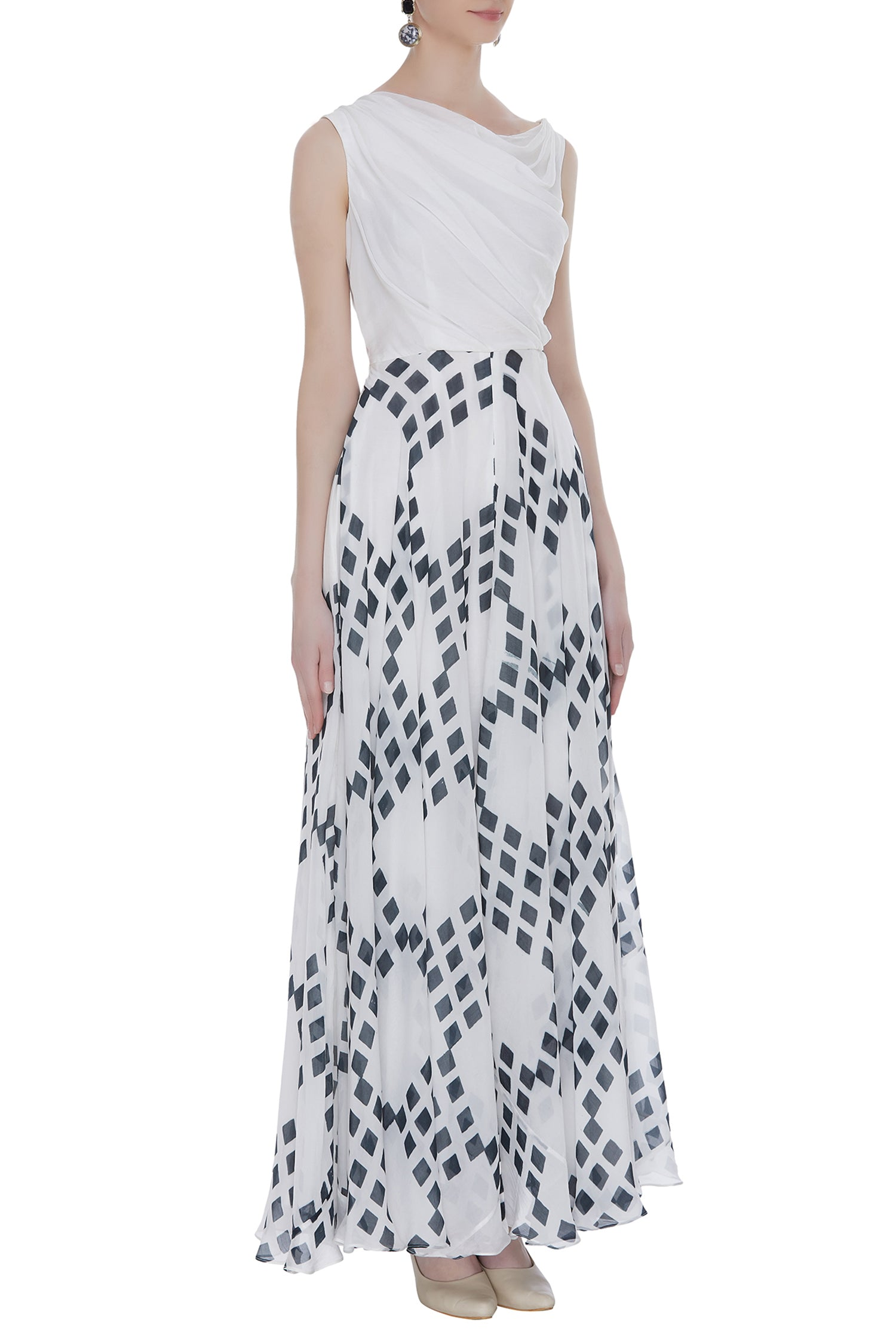 Block Printed Cowl Maxi Dress