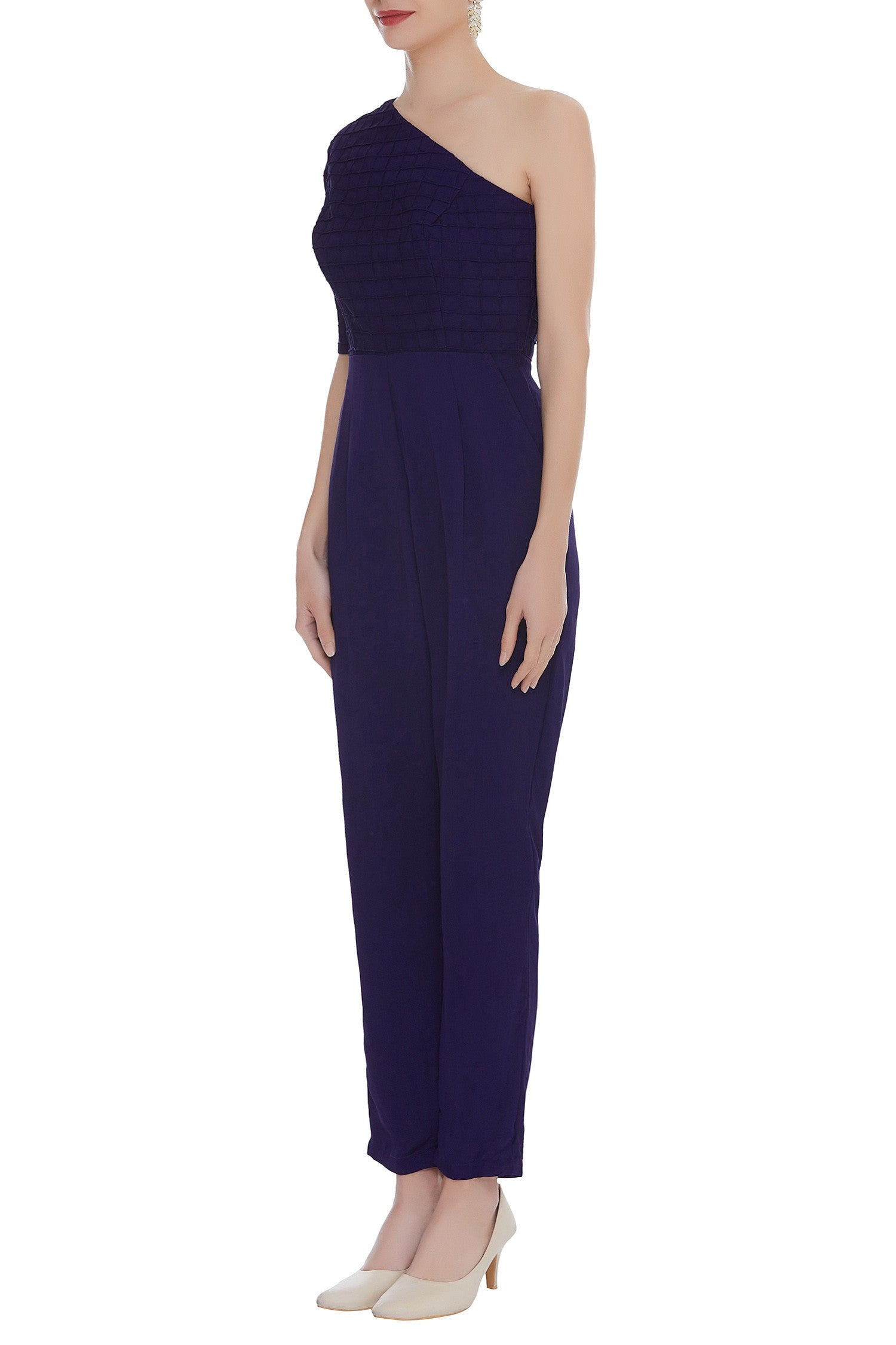 One shoulder Solid Dyed Jumpsuit