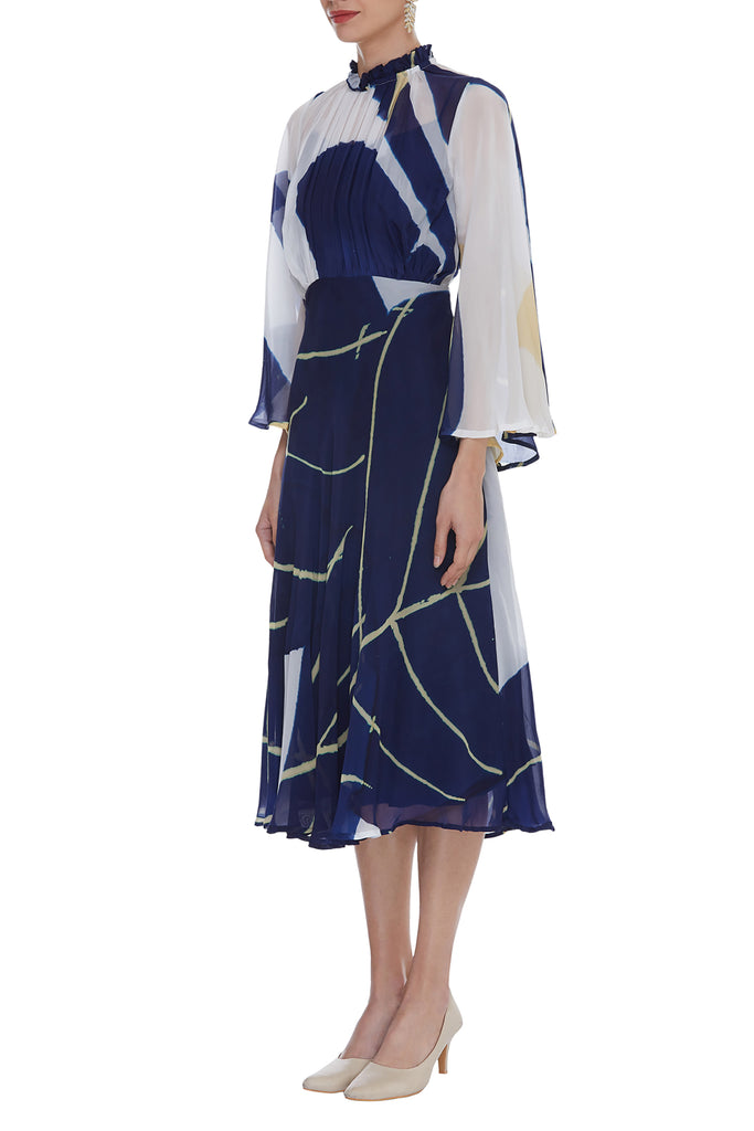 Handpainted Dress With Pleating Detail and Flared Sleeve