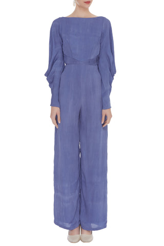 Boat Neck Solid Dyed Jumpsuit