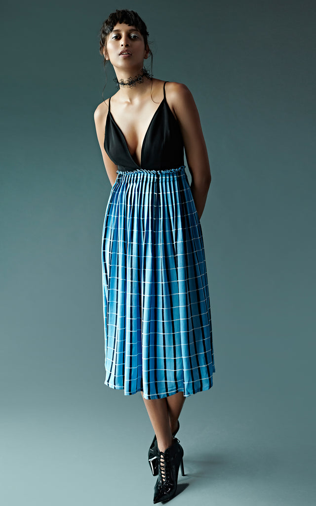 Checked Block Printed Dress With Ruffle Waist Detailing