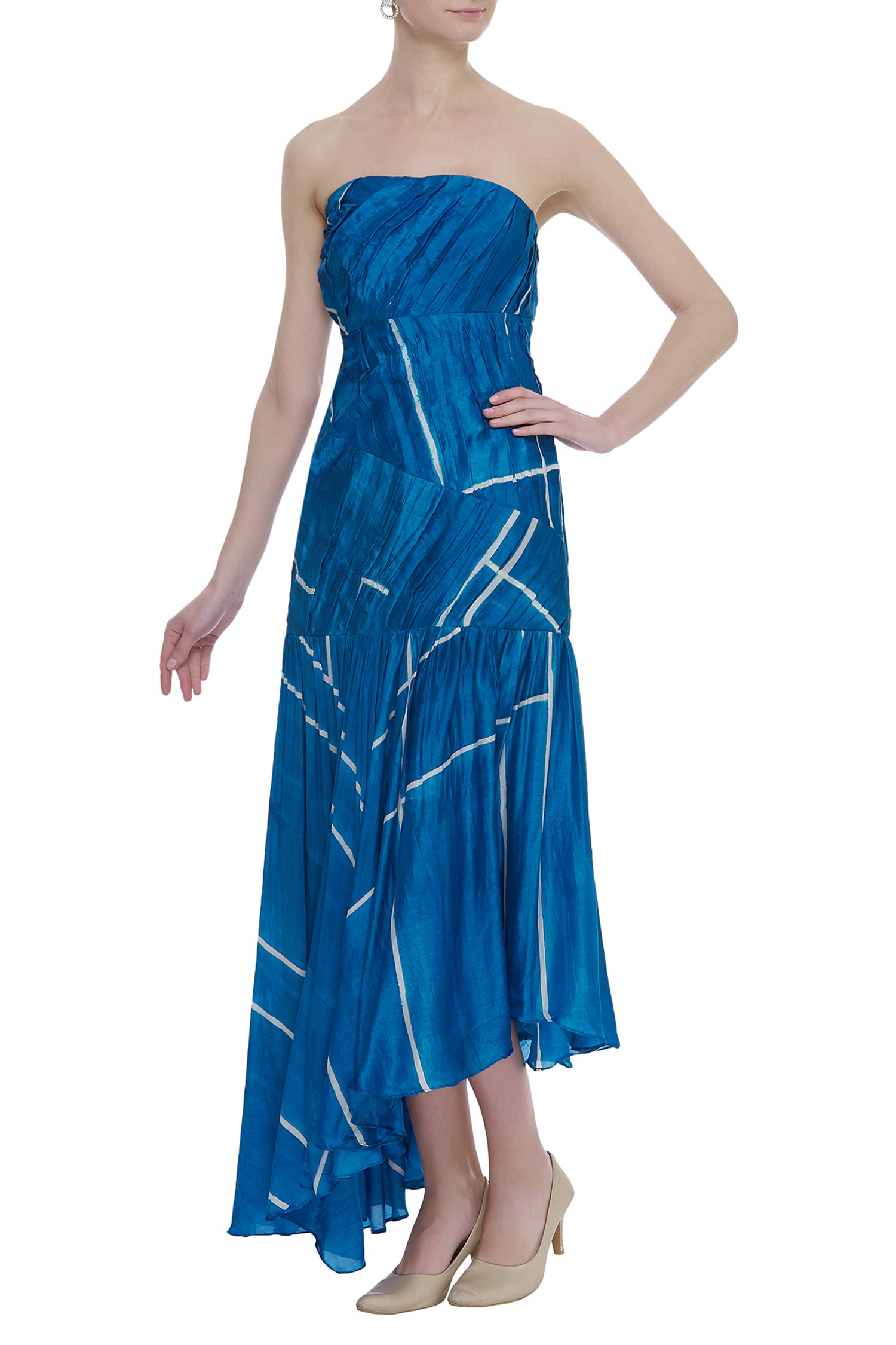 Fitted Long Dress With Pleating Texture