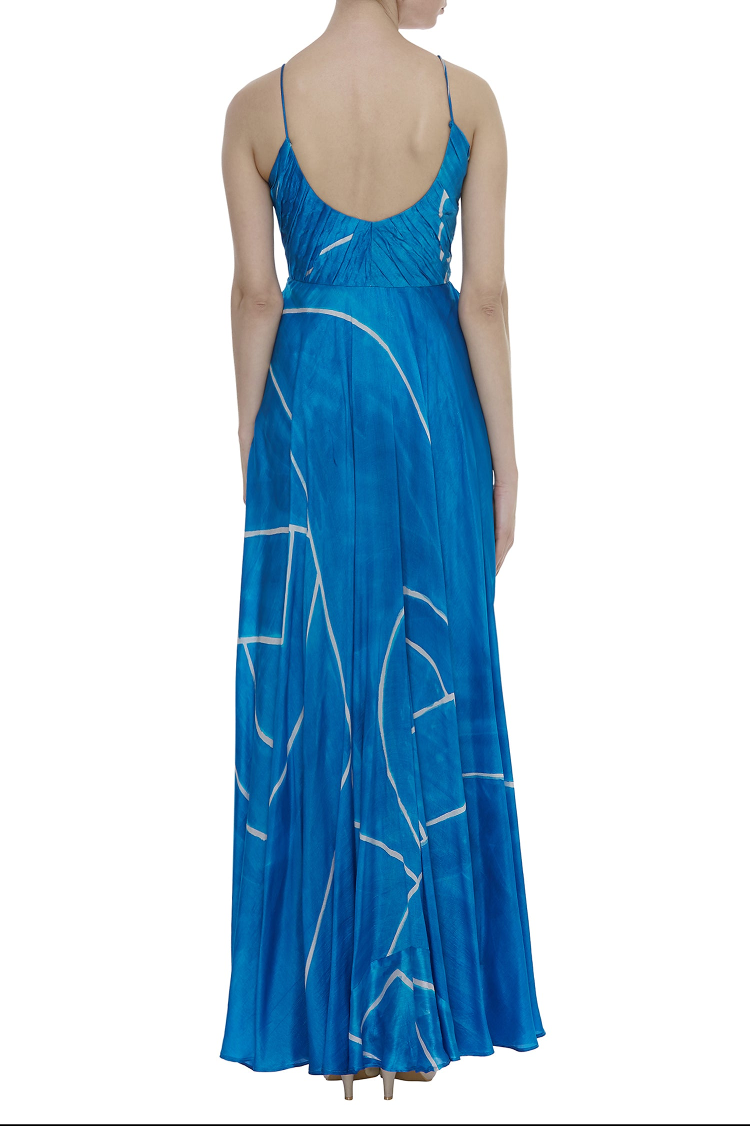 Maxi Dress With Pleating Textured Yoke