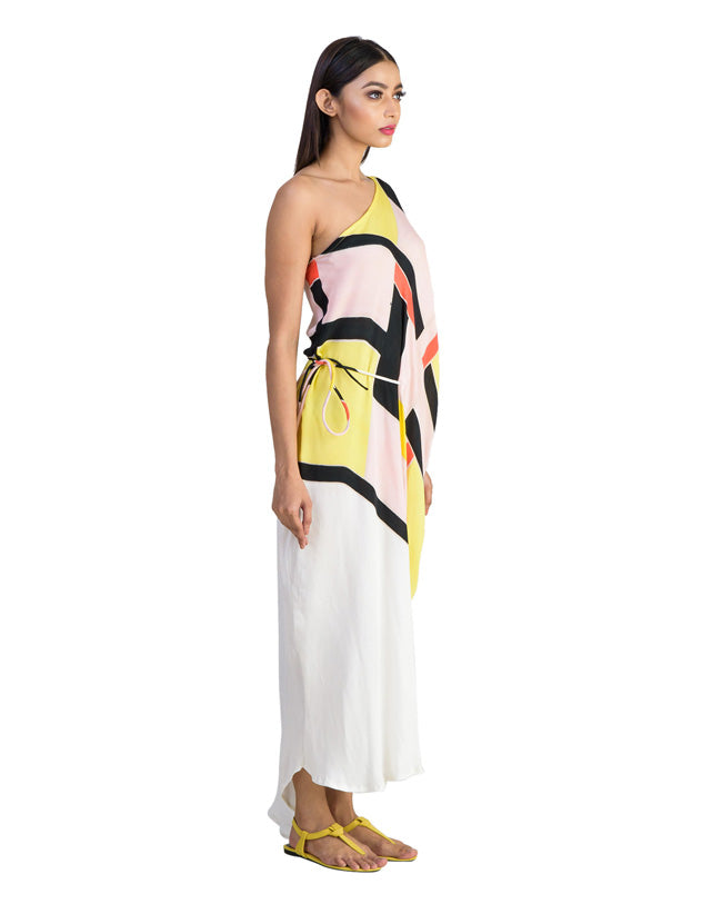 One Shoulder Draped Asymmetrical Hemline Tie Up Dress
