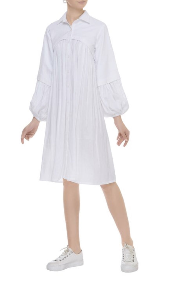 Pleating Textured Shirt Dress