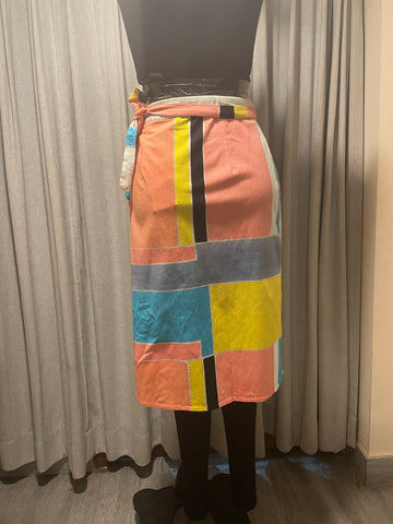 Hand Brush Painted Midi Skirt
