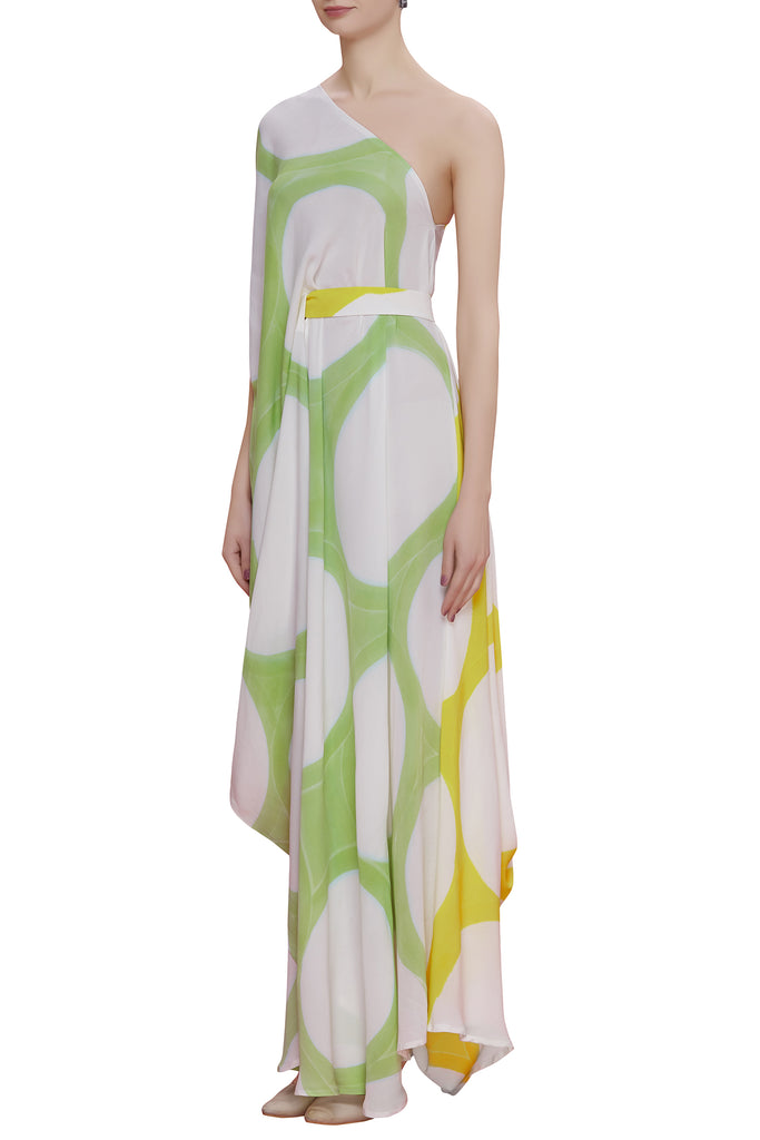 Hand Brush Painted One Shoulder Drape