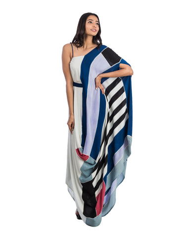Brush Painted Draped Dress