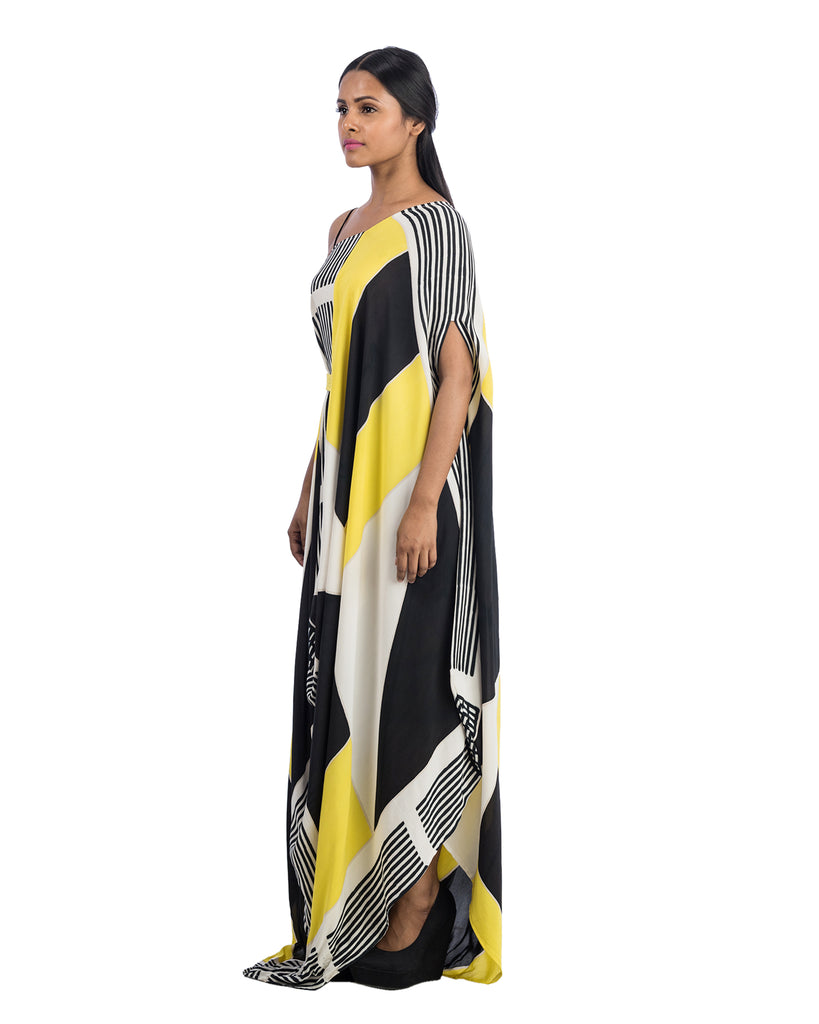 Block Printed Draped Dress