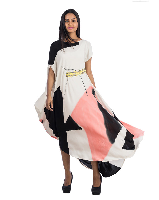 Draped One Sided Belted Dress