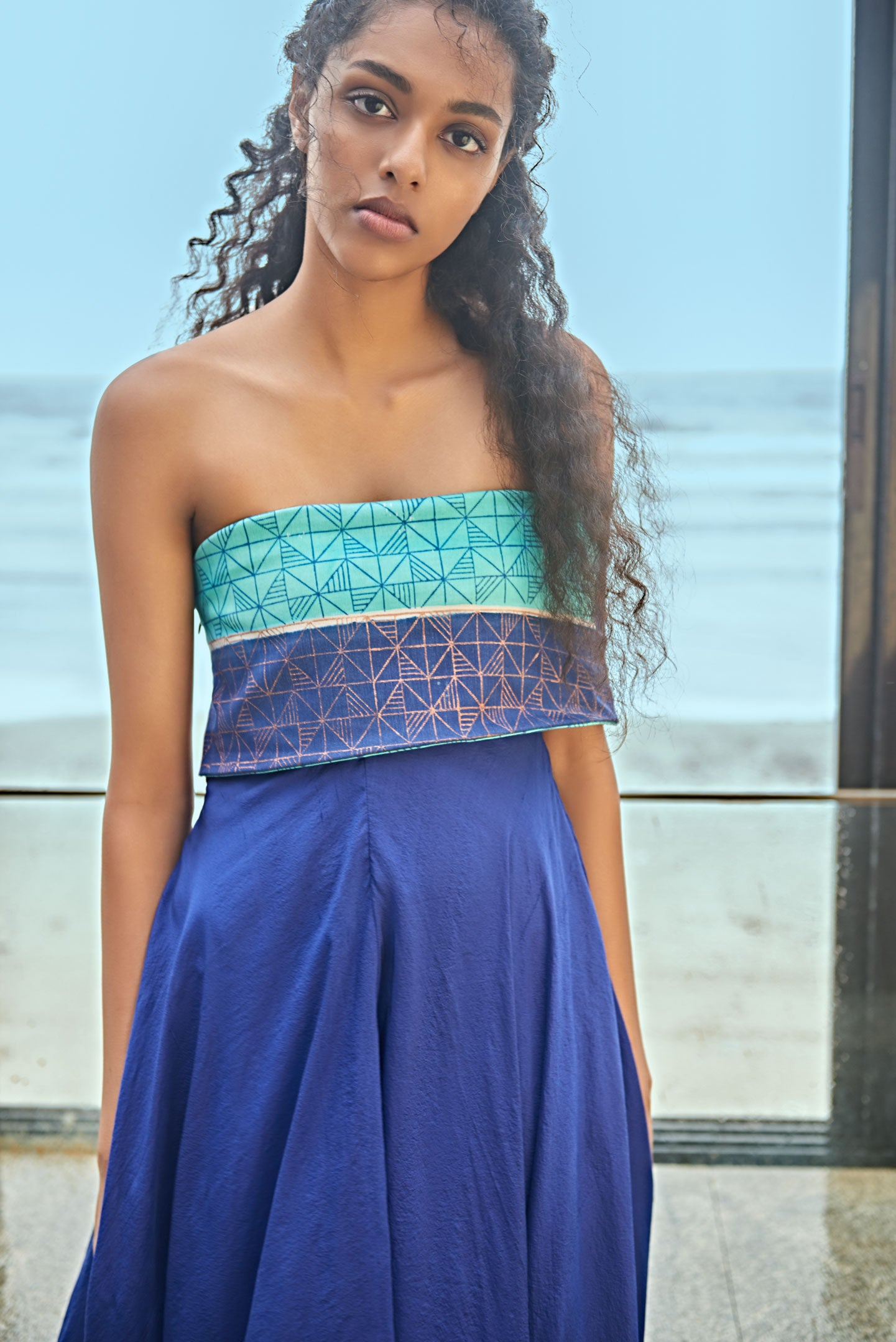 Blue Toned Off Shoulder Dress