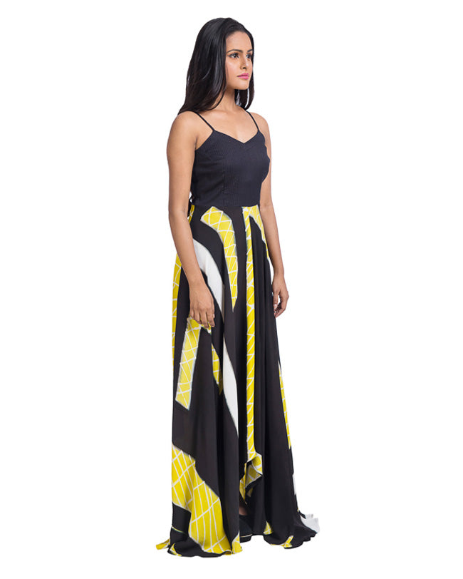 Brush Painted Black And Yellow Dress