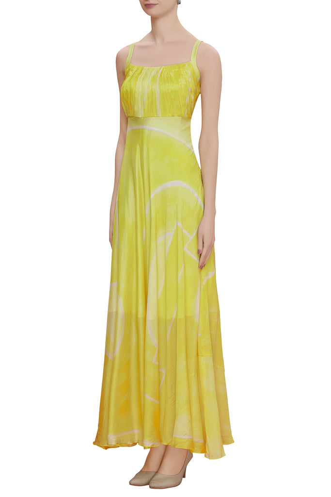 Hand brush painted abstract print maxi dress