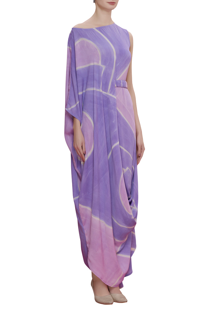 Abstract Hand Brush Painted Drape Dress