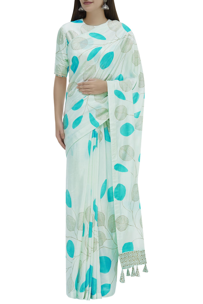 Hand Painted Floral Sari With Half Sleeve Blouse