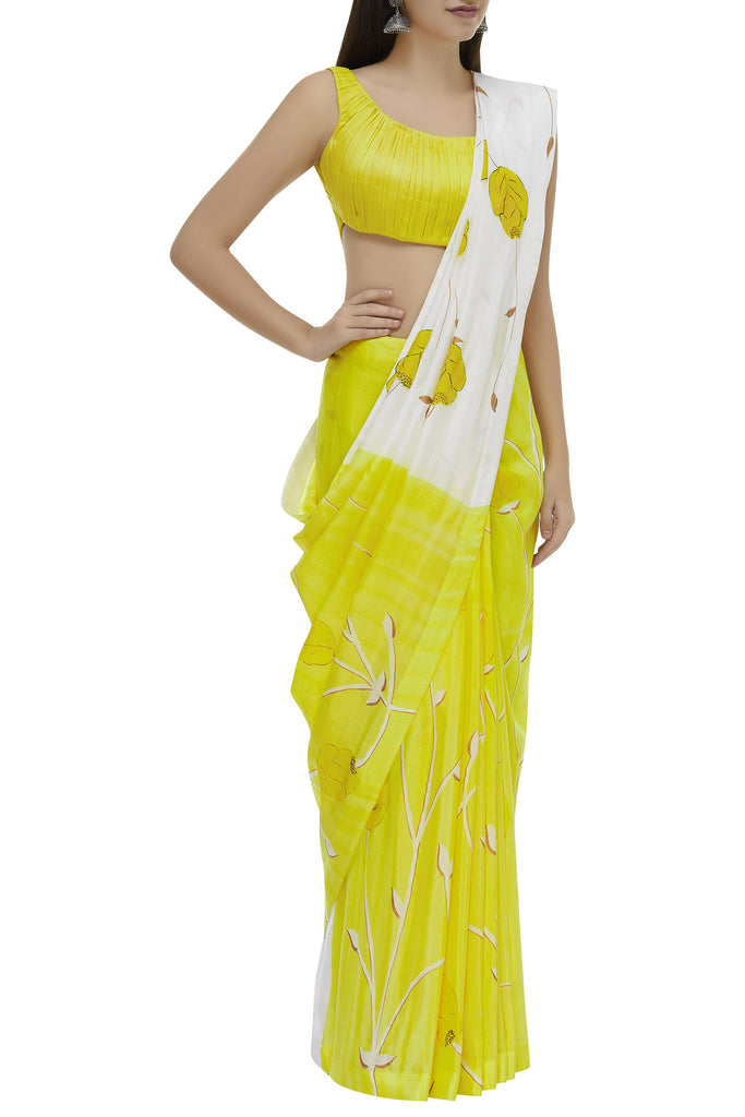 Hand Painted Floral Sari With Pleating Texture Bustier