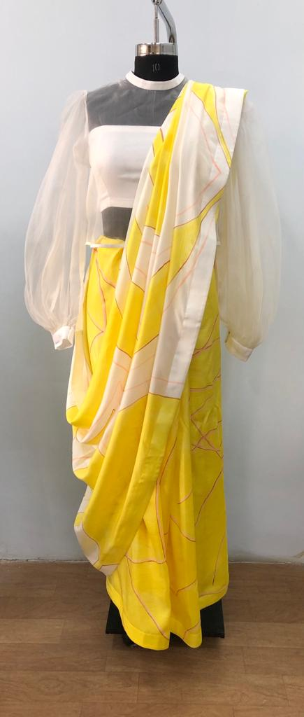 Hand Brush Painted Saree With Blouse