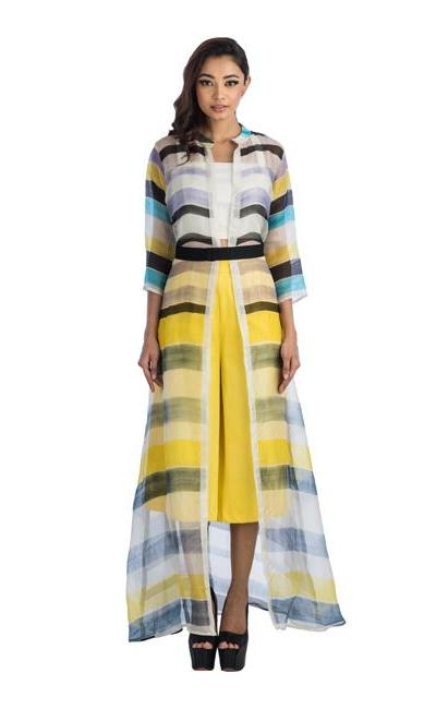 Long Jacket With A Black Belt And Yellow Culottes