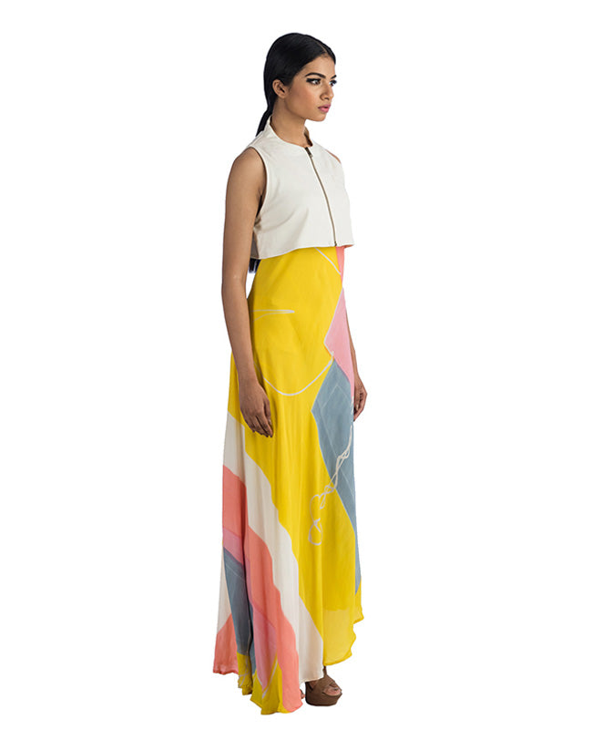 Sleeveless Jacket With Front Zipper & Sleeveless Long Dress