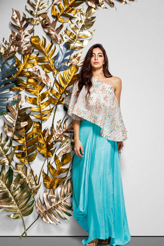 One Shoulder Embroidered Top With Draped Skirt