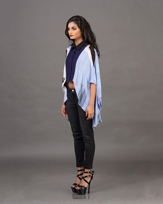 Cut Out Draped Cropped Shirt