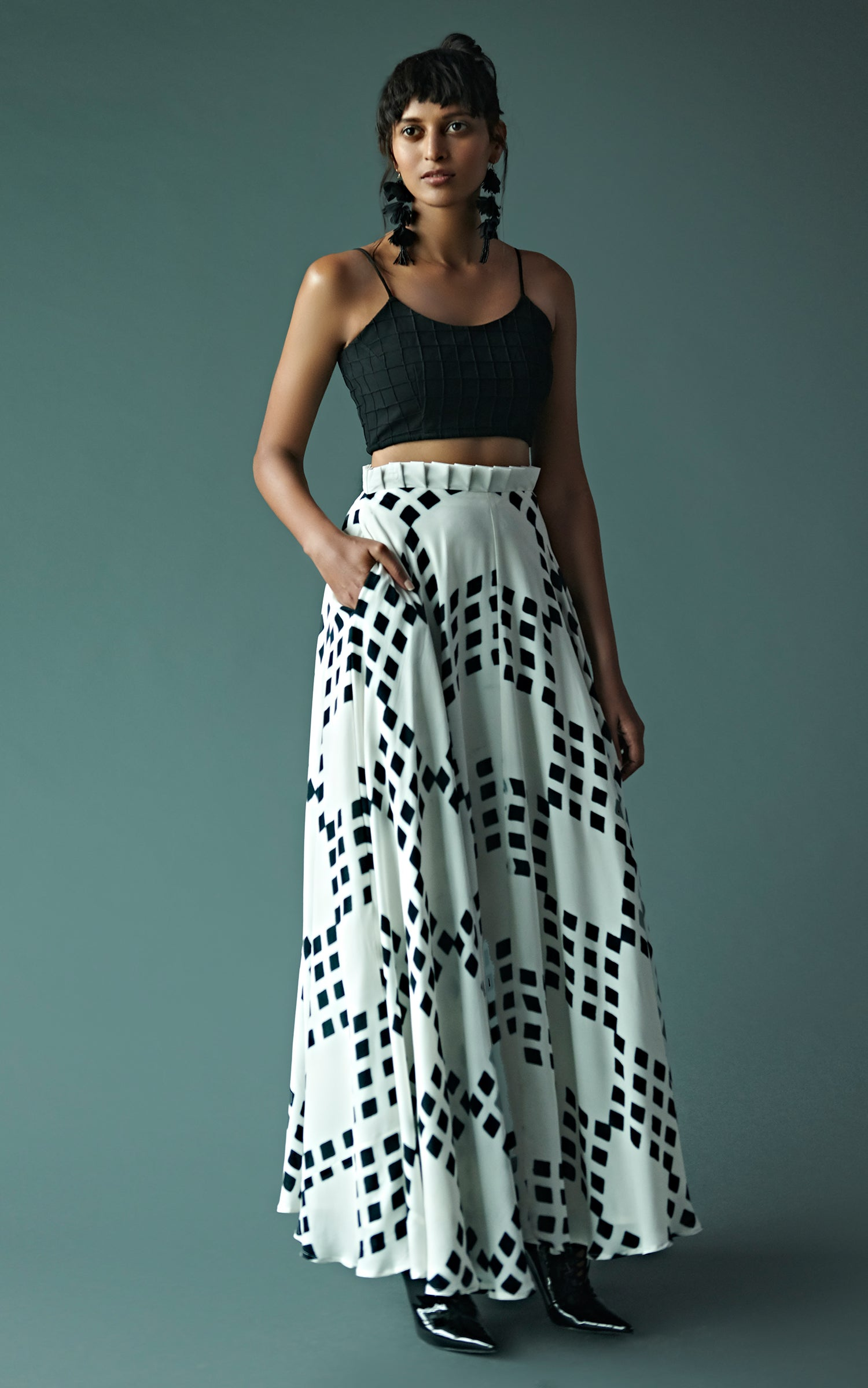 Block Printed Skirt Set With Textured Bustier
