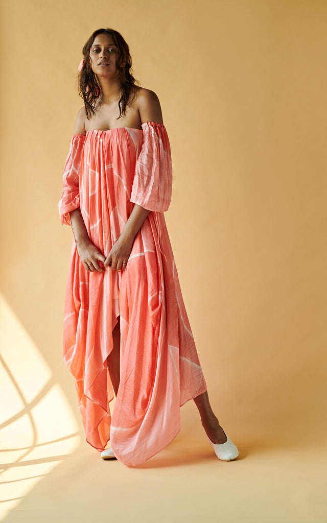 Off Shoulder Drape Maxi Dress With Pleating Textured Belt
