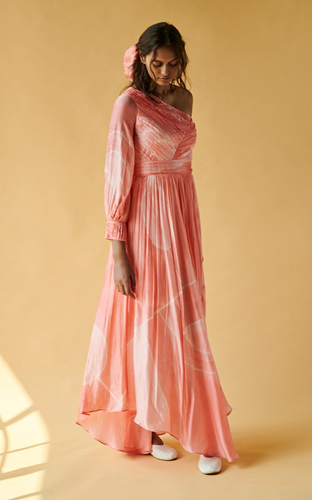 One Shoulder Long Dress With Sleeve On One Side