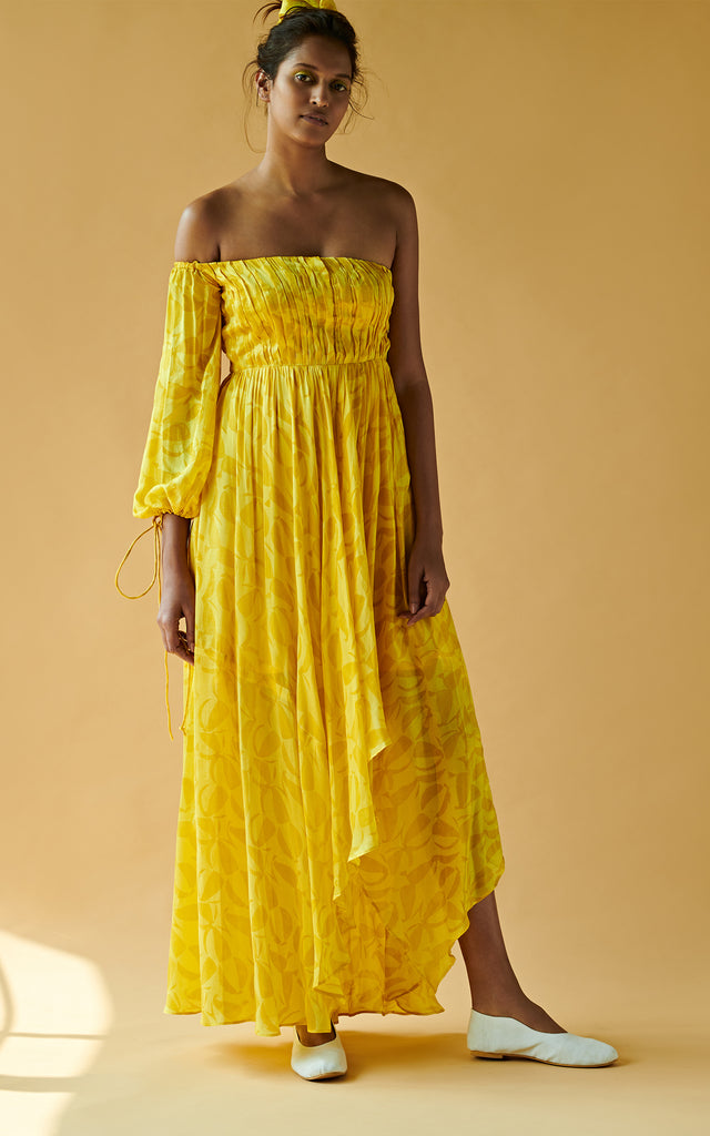 Off Shoulder Long Dress With One Side Tie Up Sleeve