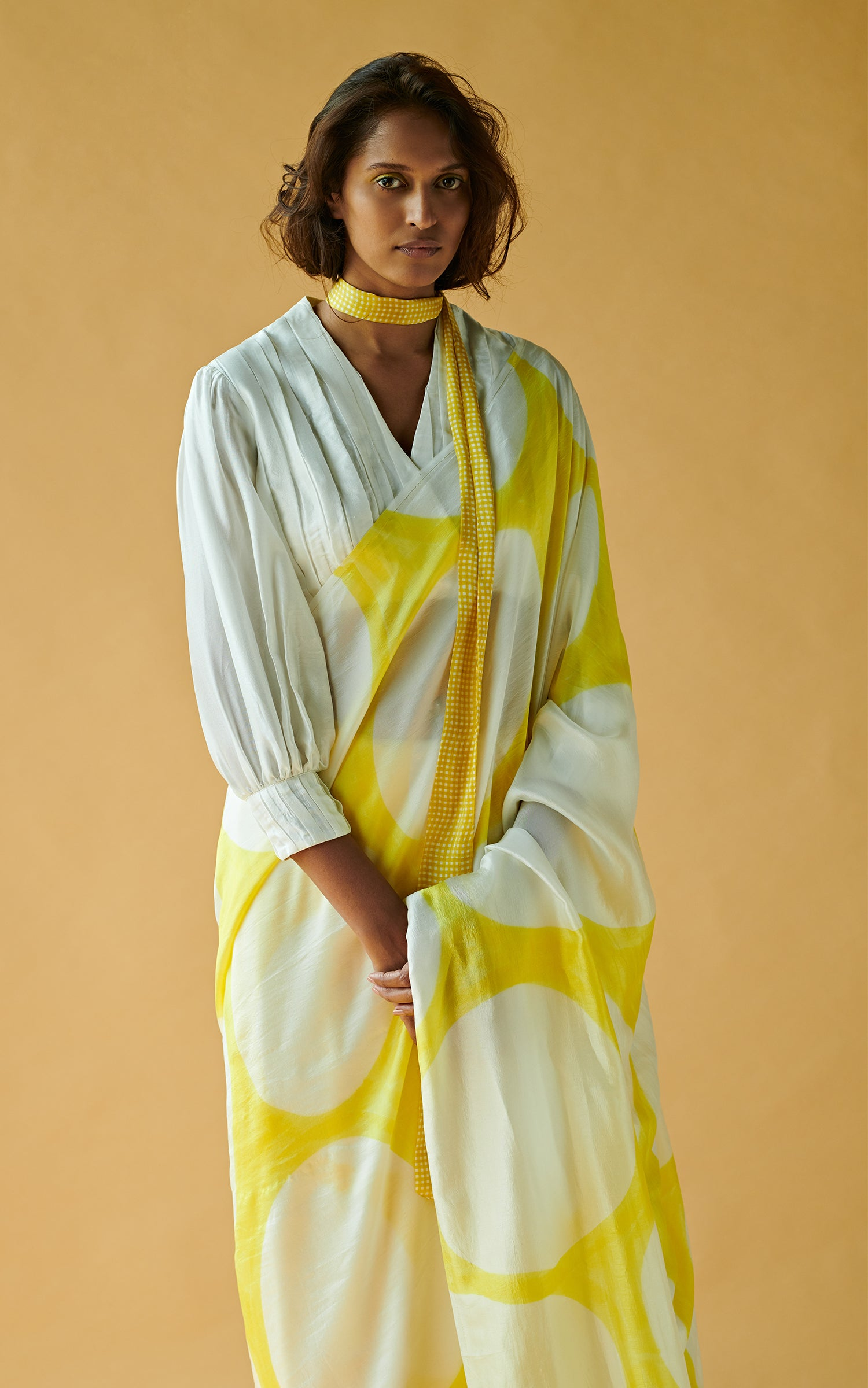 Hand Brush Painted Saree With Pleating Textured Blouse