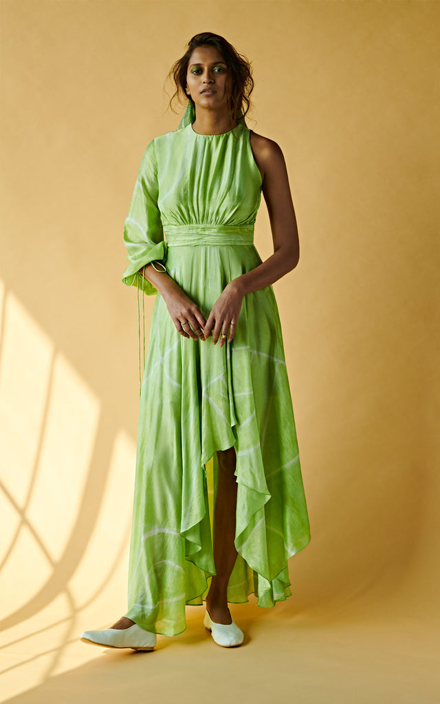 Asymmetric Long Dress With Gathered Detailing