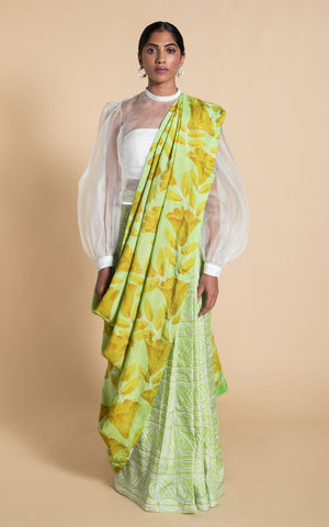 Hand Painted Floral Sari with Blouse