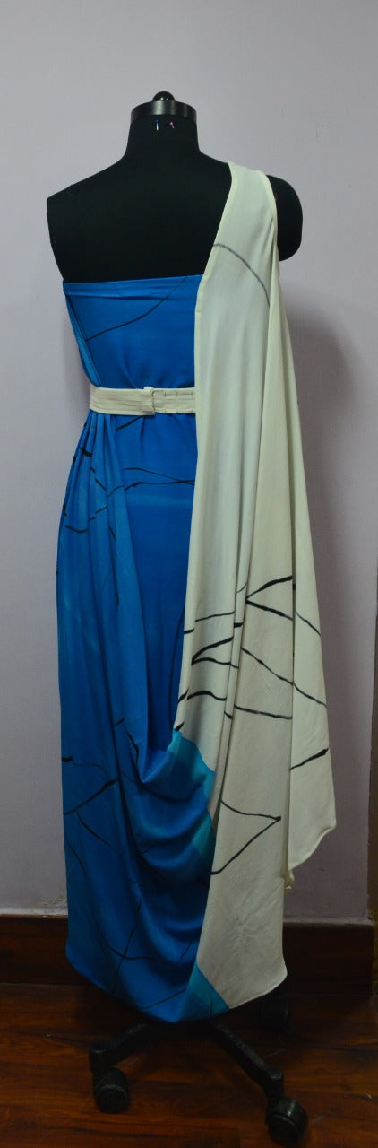 Hand Painted Draped Dress
