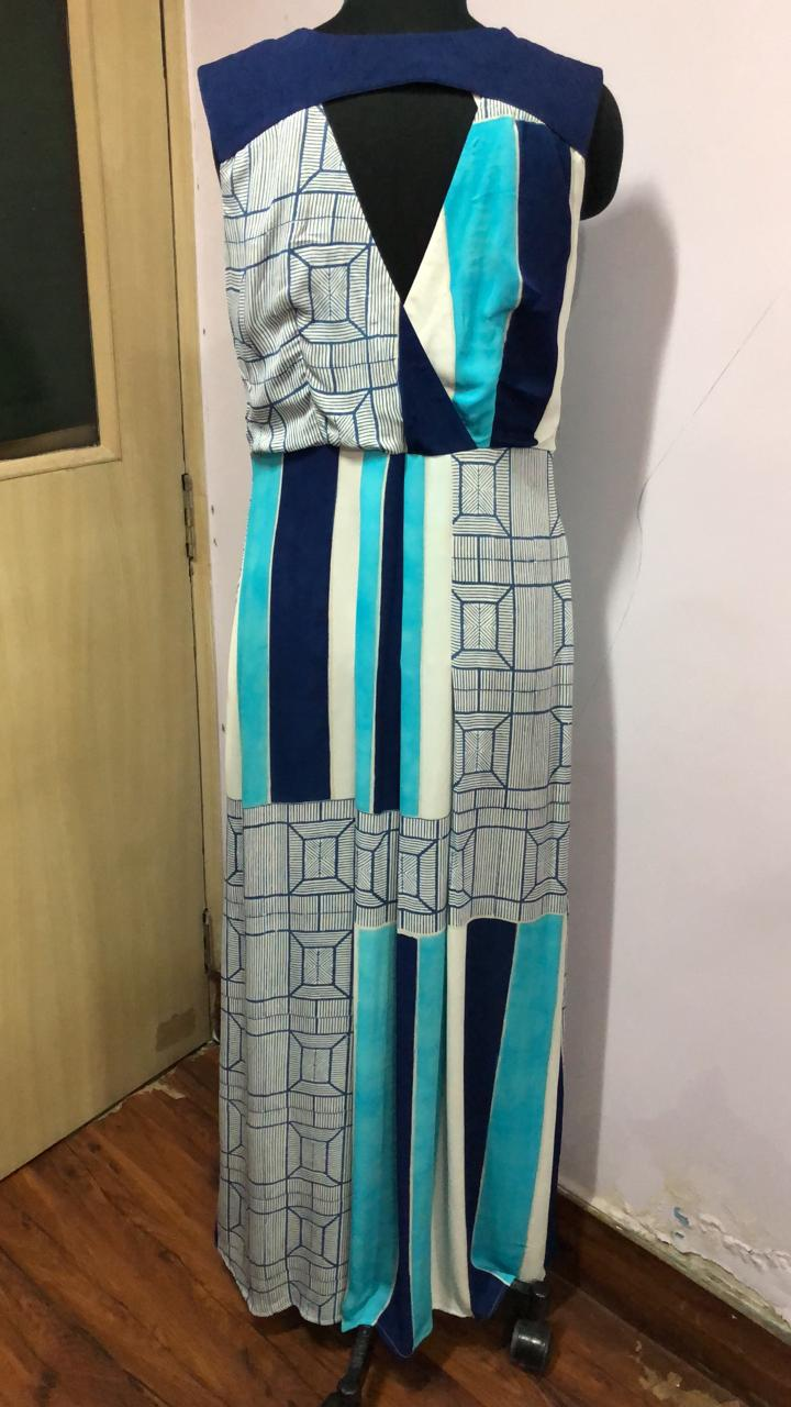 Abstract Block Printed Long Dress