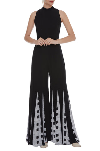 Solid Sleeveless Jumpsuit With Mandarian Collar And Block Printed Panels