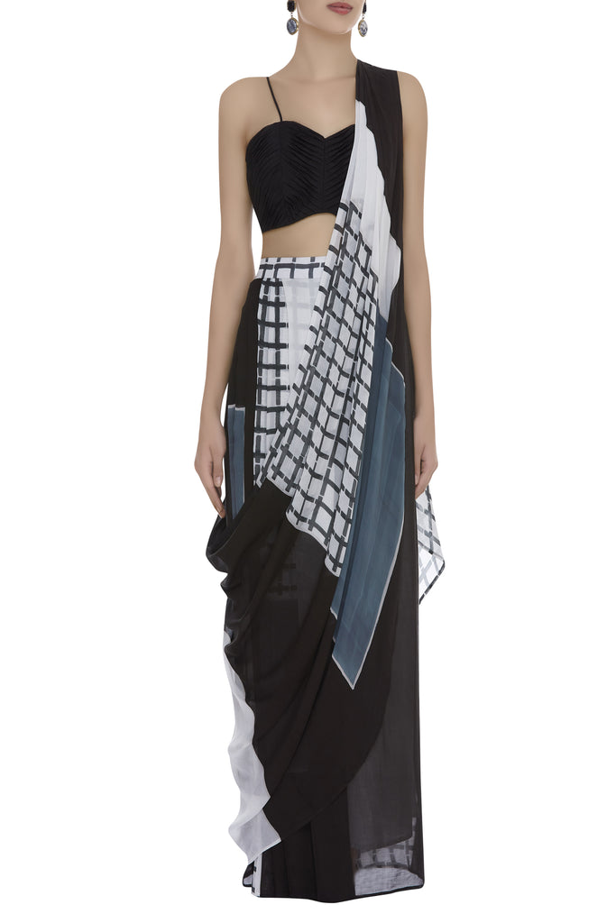 Block printed pre-stitched Sari with pleated Blouse