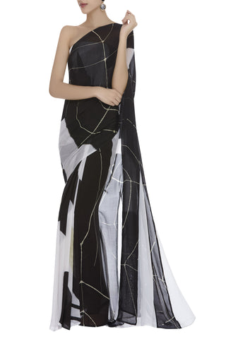 Abstract Hand painted Sari with Off Shoulder Blouse